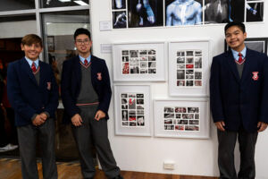 Marist College Kogarah students with their Clancy Prize collaborative artwork